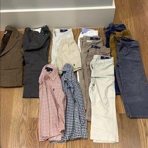 Pants shirts jacket shorts